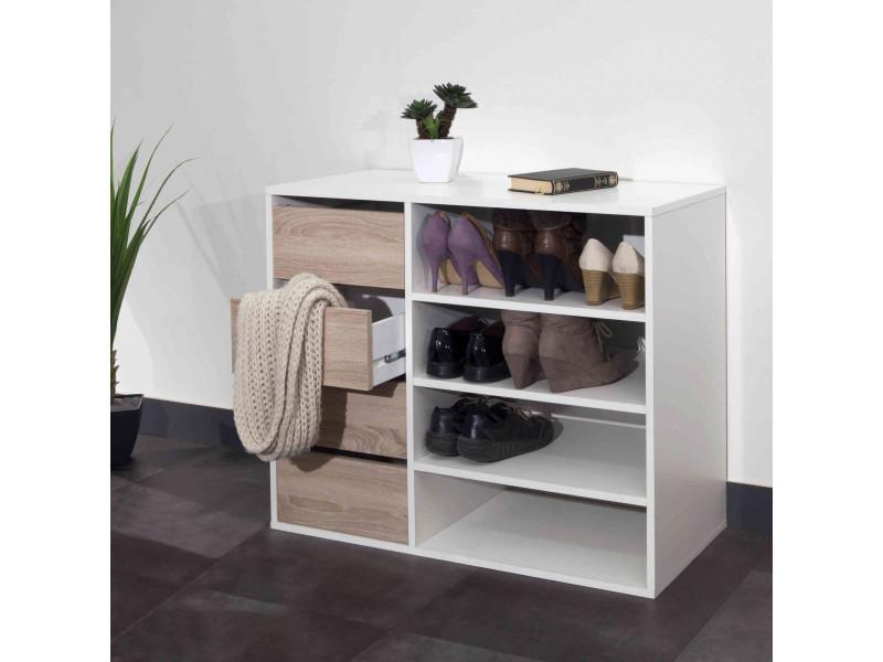 Meuble chaussures coloris bois et blanc avec tiroirs et niches de rangement - mc6016