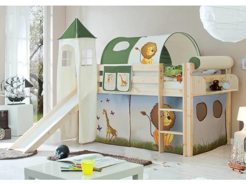 lit toboggan lit mezzanine lit tunnel lit enfant lit cabane bois massif vernis naturel. Black Bedroom Furniture Sets. Home Design Ideas