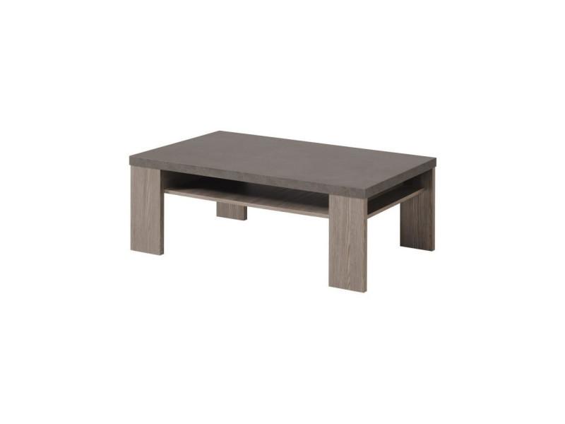 Clay table basse style contemporain decor chene argile et beton fonce - l 109 x l 65 cm