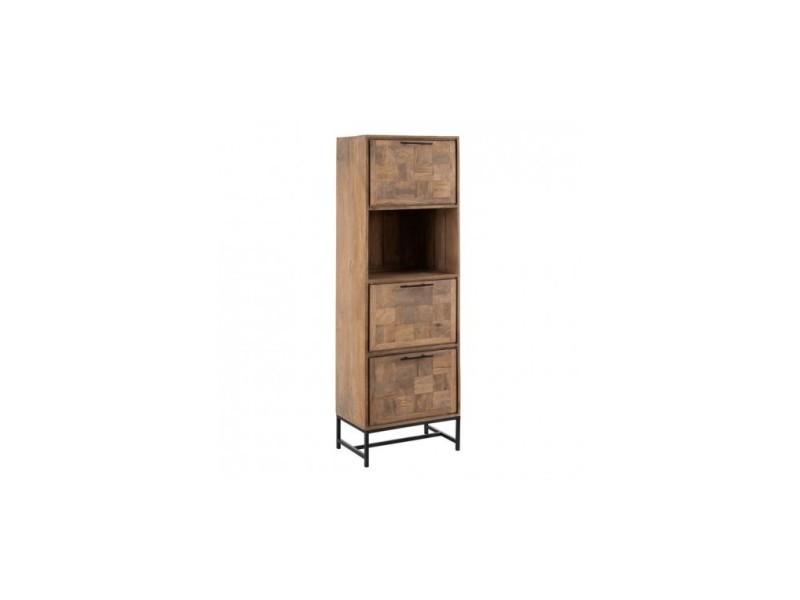 Armoire bois naturel metal 3 portes 1 niche borabora