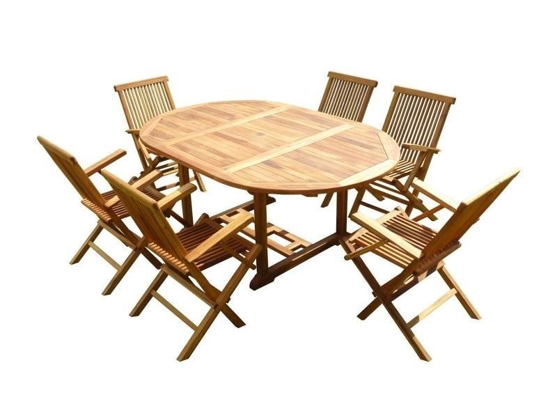 Ensemble de jardin en teck huilé sentak 6 fauteuils pliants jumak