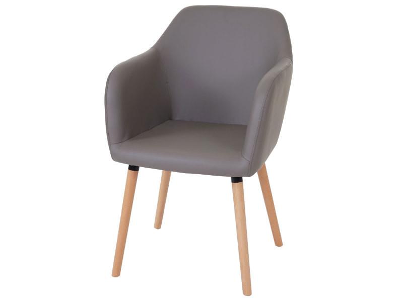 Chaise de séjour / salle à manger malmö t381, style rétro des années 50 ~ similicuir, taupe