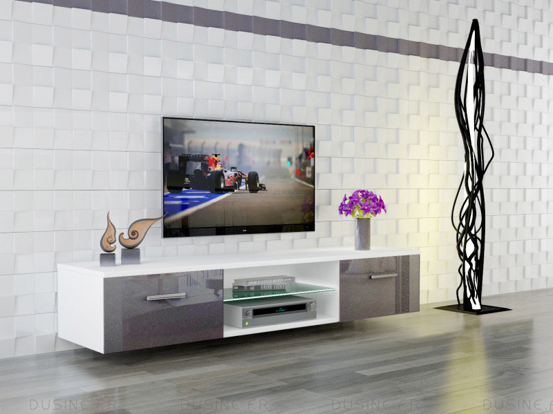 meuble led suspendu tv giuliano blanc mat et portes gris. Black Bedroom Furniture Sets. Home Design Ideas
