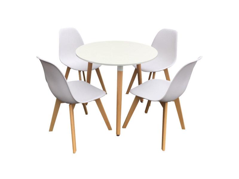 Ensemble Table Et Chaises Scandinave Liz Blanc Vente De Happy