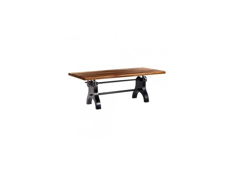 Table ajustable bois et pieds métal noir steamboat econo