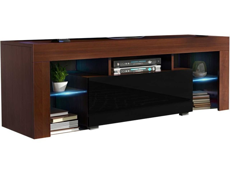 Meuble tv 130 cm noyer et noir led rgb