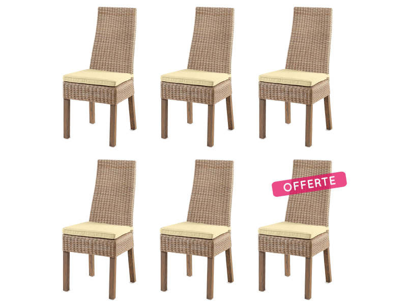 Lot de 6 chaises calvi en osier vente de chaise conforama for Conforama chaise