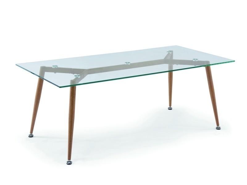 Table Basse En Verre Pieds En Bois Nybro Vente De Table