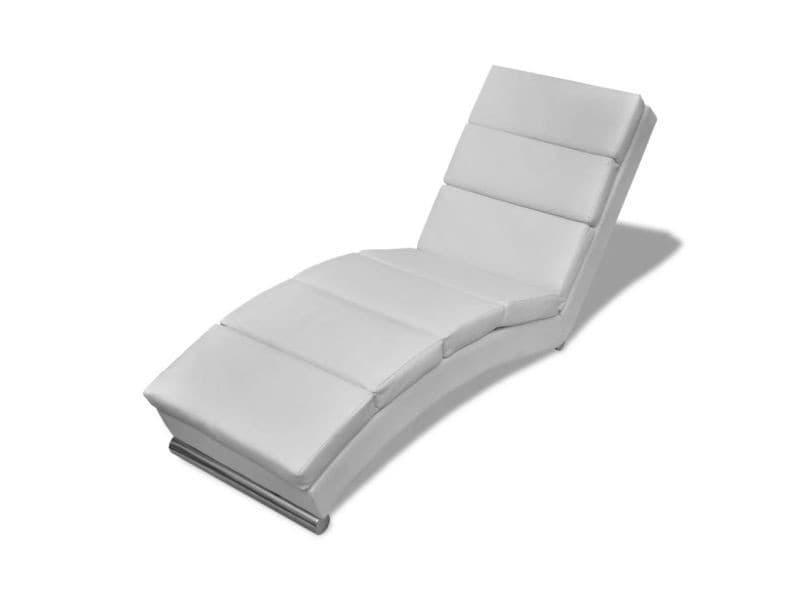 240712 De Vidaxl Blanc Cuir Vente Chaise Synthétique Longue PkiTuOXZ