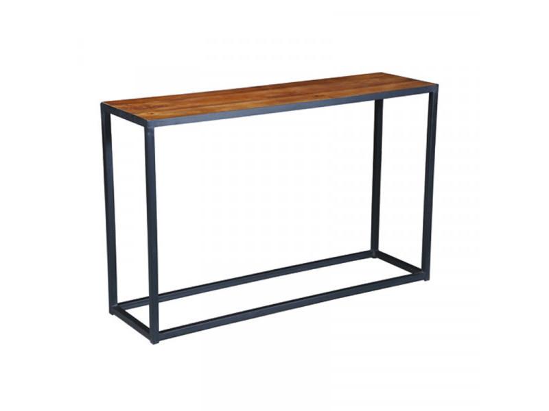 Console en acier et bois de palissandre - verden - l 120 x l 35 x h 76 cm