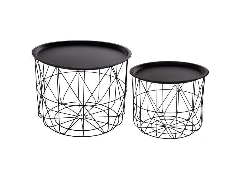 Tables basses splendide lot de 2 tables à café gigognes avec plateaux amovibles - design et modernes - coloris noir