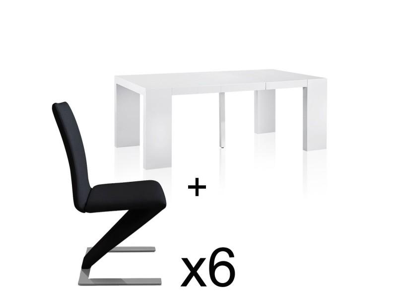 Table extensible blanc laqué + 6 chaises delano noir