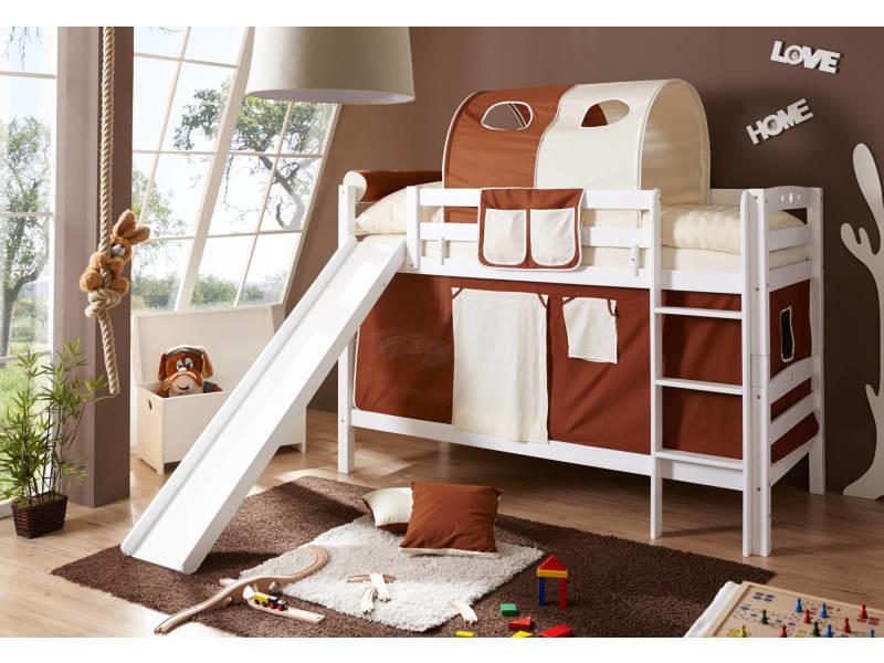 3d0214224658fd Lit superposé - lit mezzanine - lit tunnel toboggan - lit enfant - lit  cabane - bois massif vernis blanc - tissus marron et beige - Vente de  H24LIVING - ...