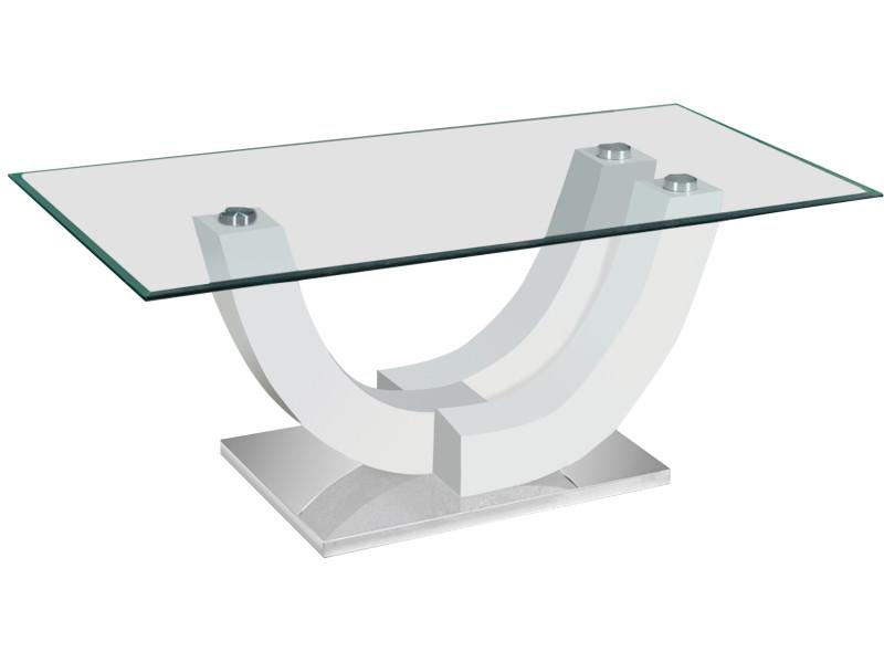 Table Basse Blanc Laque Design En Bois Mdf Et Verre Trempe Securit
