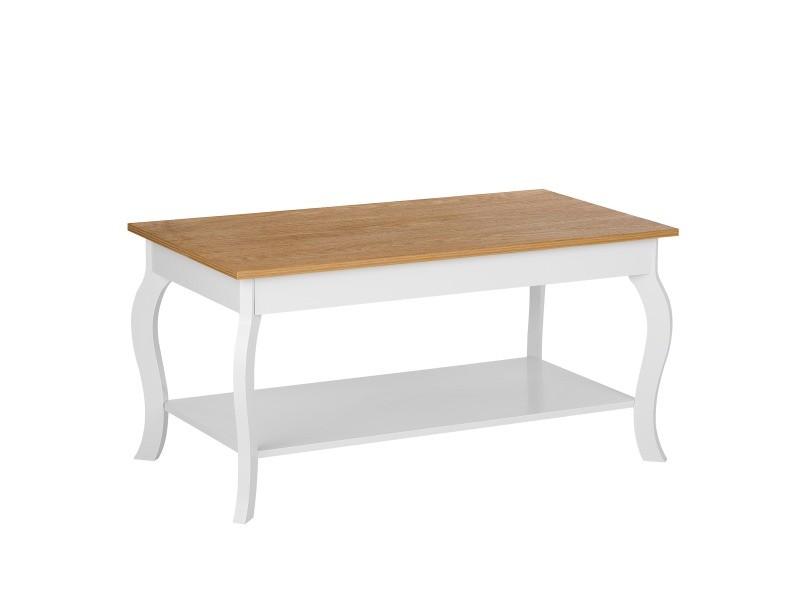 Table basse blanche et bois clair harford 181375