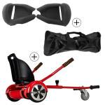Accessoire hoverboard 6,5 pouces :  pack essentiel 3 en 1 : hoverkart rouge +  coque/housse silicone noir +  sac de transport
