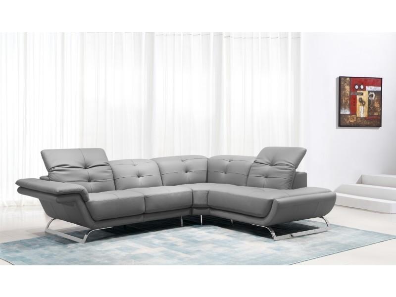 Canapé d'angle design en cuir gris aurore (angle droit)-
