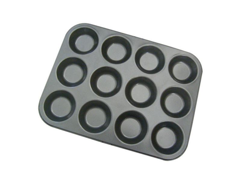 Plaque pour 12 tartelettes 34x26 en acier anti adhèrent