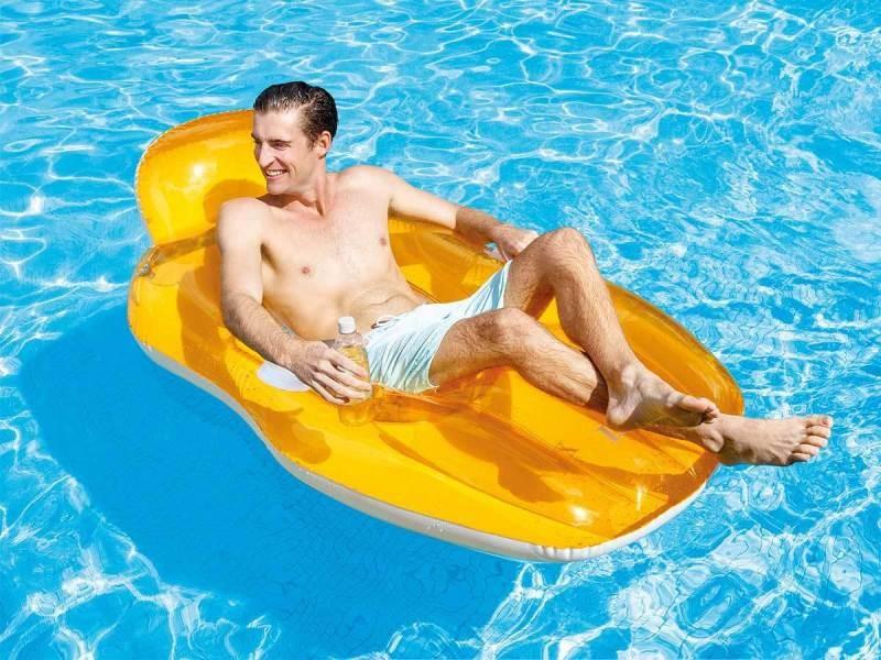 Fauteuil de piscine lounge avec fond en maille orange - intex