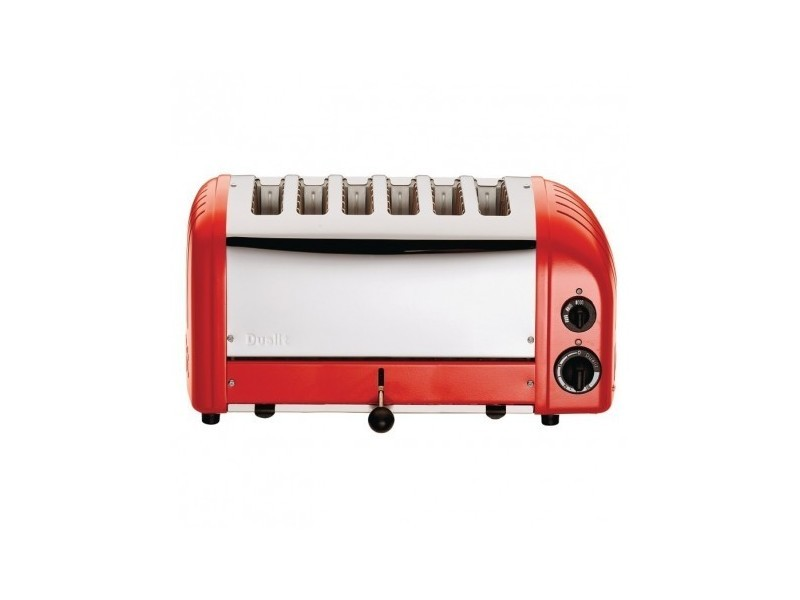 Grille pain professionnel inox - 6 tranches - finition rouge - dualit