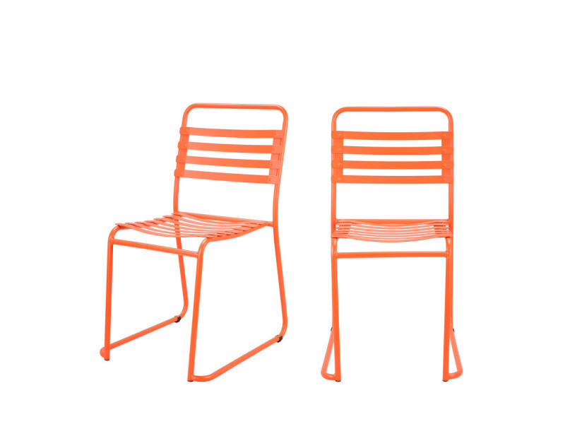 Lot de 2 chaises indoor/outdoor park - couleur - orange RCF1700-725 ...
