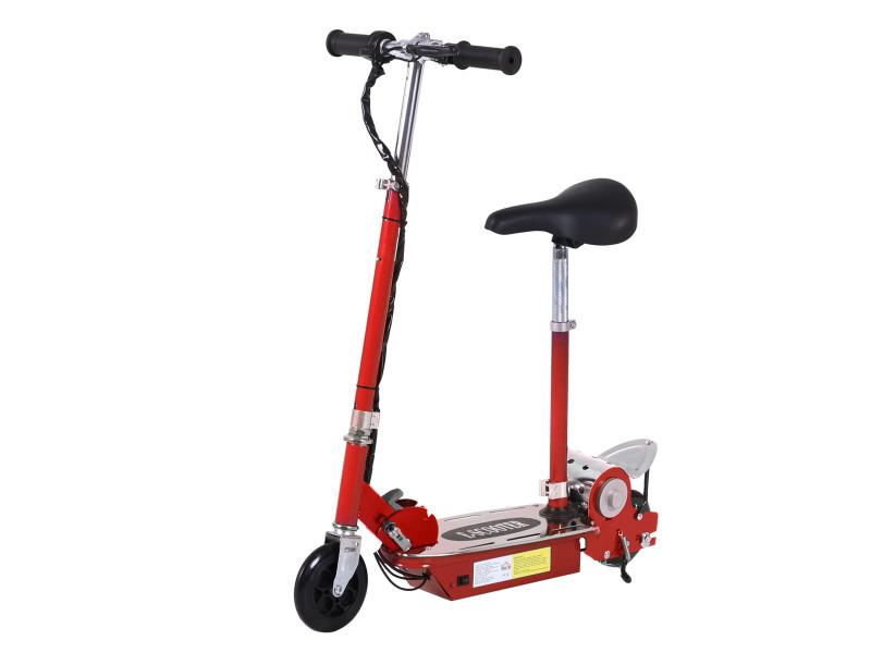 Trottinette électrique 120 w pliable pour enfant de 7 à 12 ans hauteur guidon et selle réglable 10 km/h max. Rouge