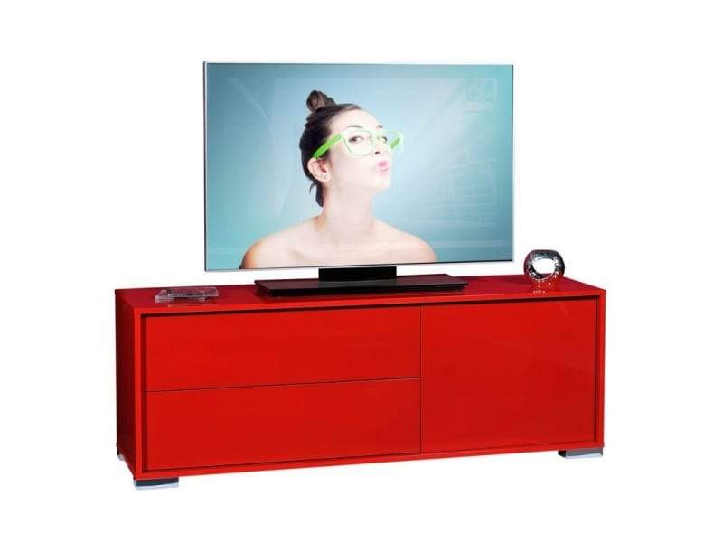 Meuble tv rouge 1 porte 2 tiroirs - navo - l 140 x l 42 x h 52 - neuf
