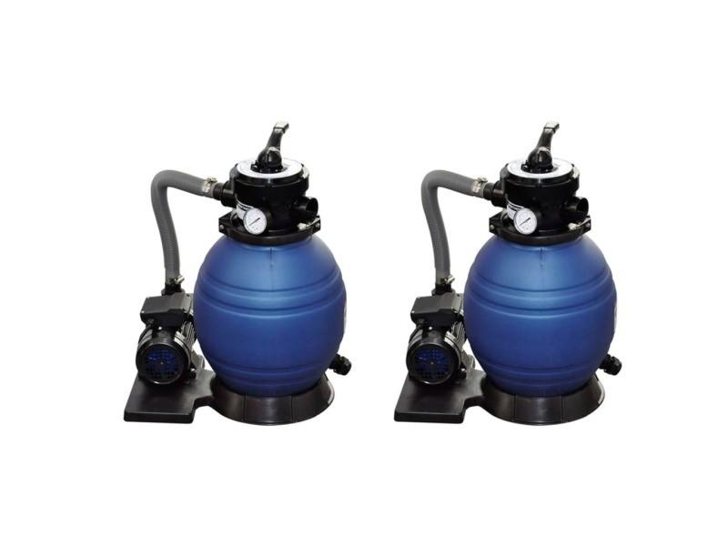 Vidaxl pompes à filtre à sable 2 pcs 400 w 11000 l/h 30 cm
