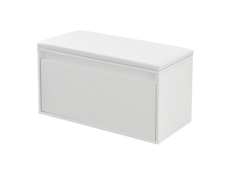 Banc à chaussures design avec tiroir meuble pour entrée avec siège rembourré range-chaussures stylé pour 3 paires panneau de particules pu similicuir 80 x 39 x 45 cm blanc [en.casa]