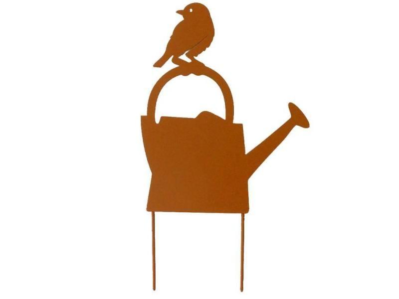 Tuteur pic de jardin motif arrosoir et oiseau plaque décorative à piquer en métal marron 21x38cm