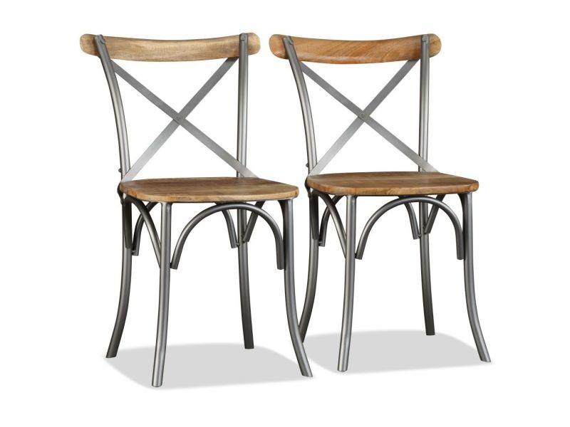 Vidaxl chaise de salle à manger 2pcs bois de manguier massif et acier 244592