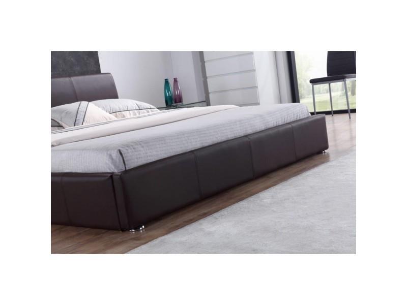 structure de lit monaco design contemporain 140x200 cm marron vente de paolo collaner conforama. Black Bedroom Furniture Sets. Home Design Ideas