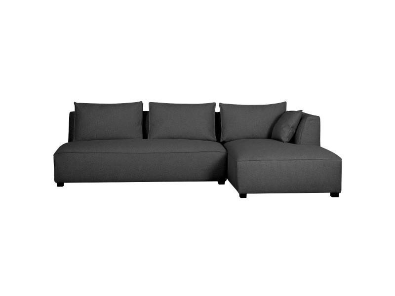 Canapé d'angle droit modulable avec chauffeuse double gris anthracite pluriel