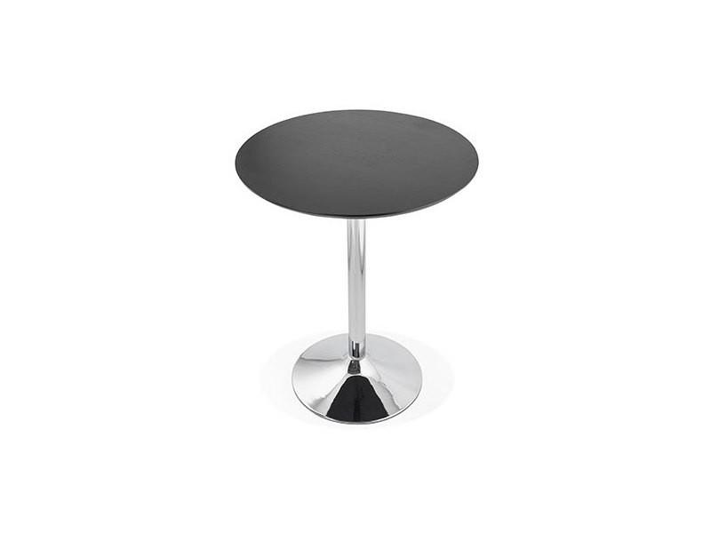 Table de bar ronde 90 cm plateau noir et pied métal - barman