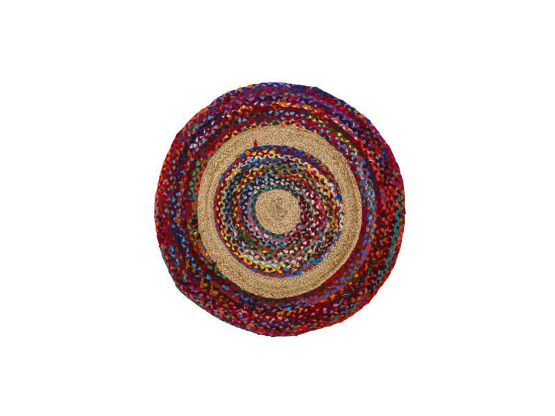 Tapis multicolore jute/coton 90*90 - sotali - l 90 x l 90 x h 0.5 - neuf