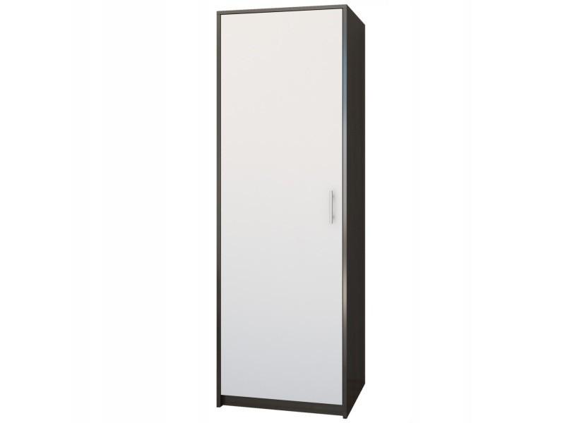 Essen - petite armoire contemporaine chambre/bureau/studio - 180x55x42 cm - penderie - meuble de rangement - wenge/blanc