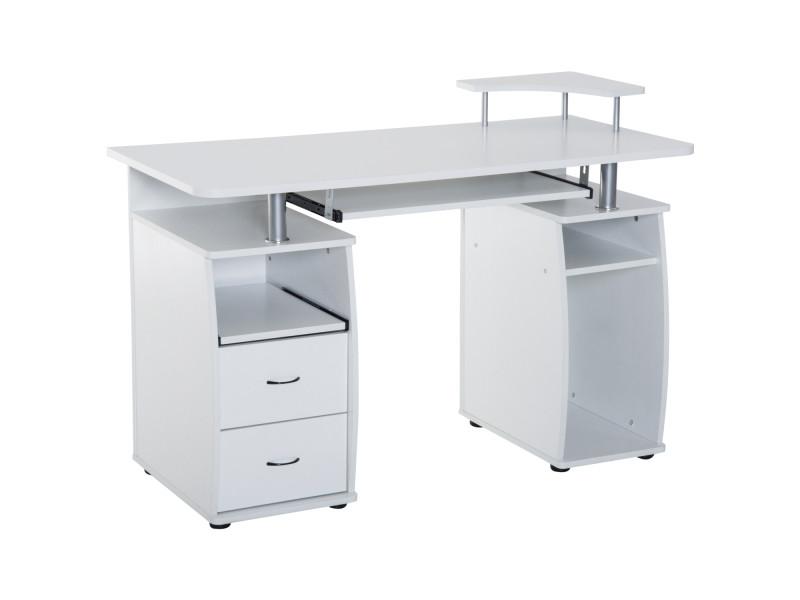Bureau pour ordinateur table meuble pc informatique multimédia en