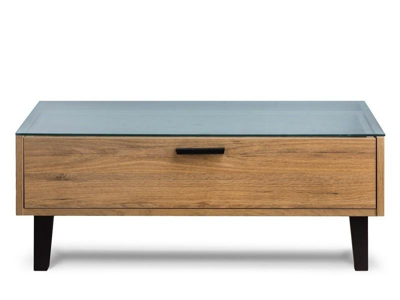 Frili - table basse style scandinave salon/séjour - 90x35x60 cm - plateau en verre + 1 tiroir + pieds en bois massif - chêne/noir