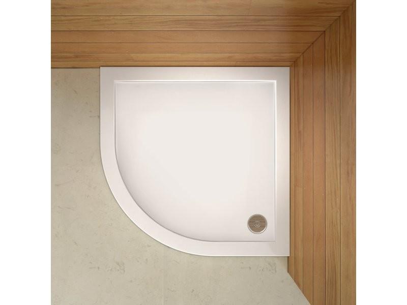 Aica receveur de douche extra plat 80x80x3cm 1/4 de rond avec le bonde