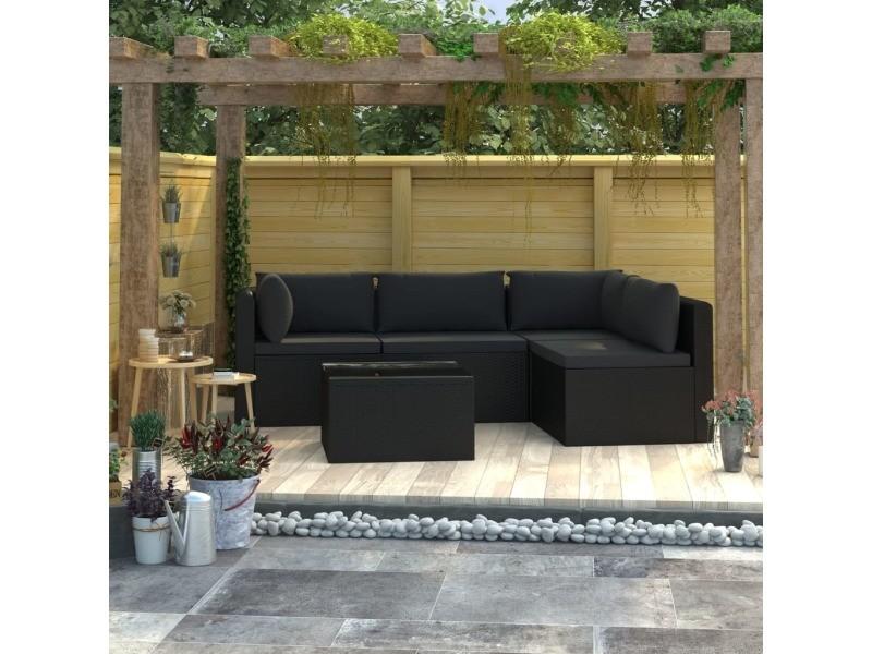 Joli mobilier de jardin gamme saint-domingue salon de jardin 5 pcs avec coussins résine tressée noir