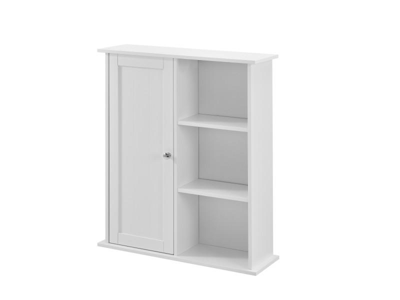 [en.casa] armoire murale de salle de bain rangement de salle de bain avec 2 surfaces fermé et 3 étagères extérieures 71 x 60 x 18 cm mdf laqué blanc