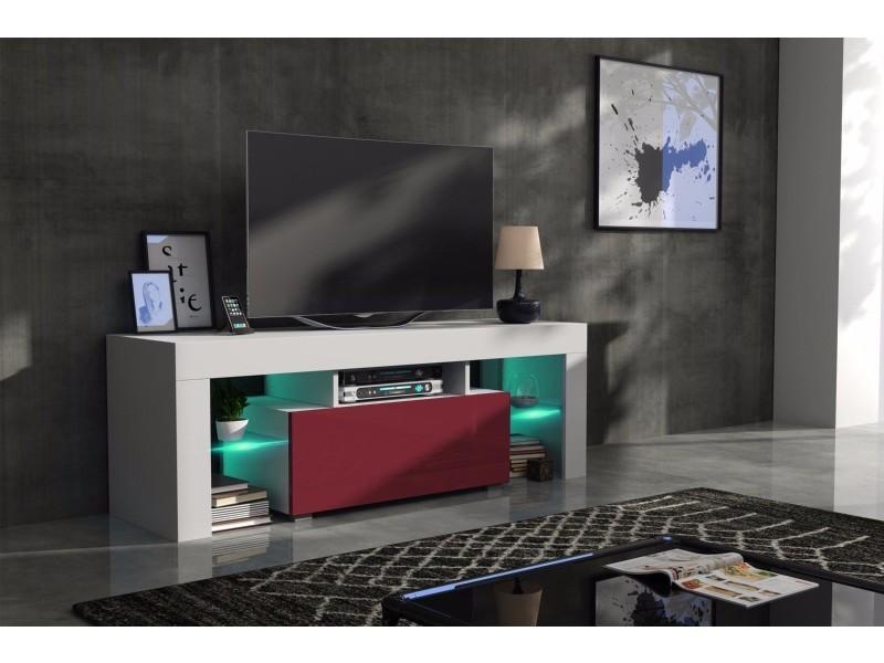 Meuble tv 130 cm corps blanc mat et porte laquée bordeaux avec led rgb
