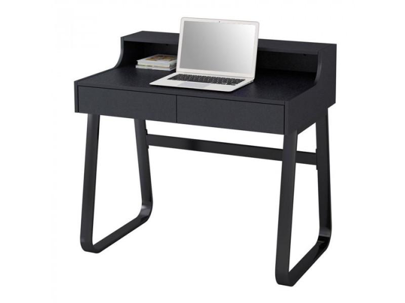 Petit bureau informatique en bois et métal noir avec tiroirs