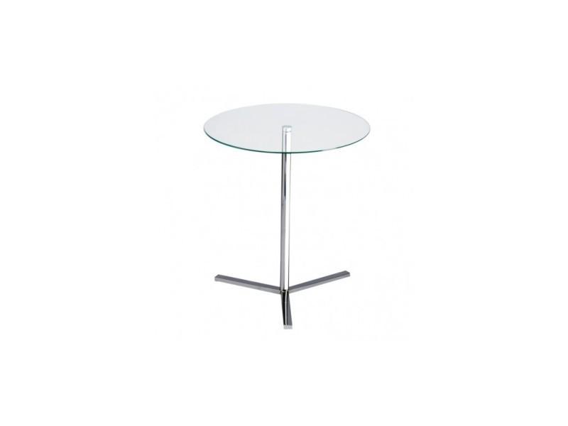 Table d'appoint verre et acier auxiliaire