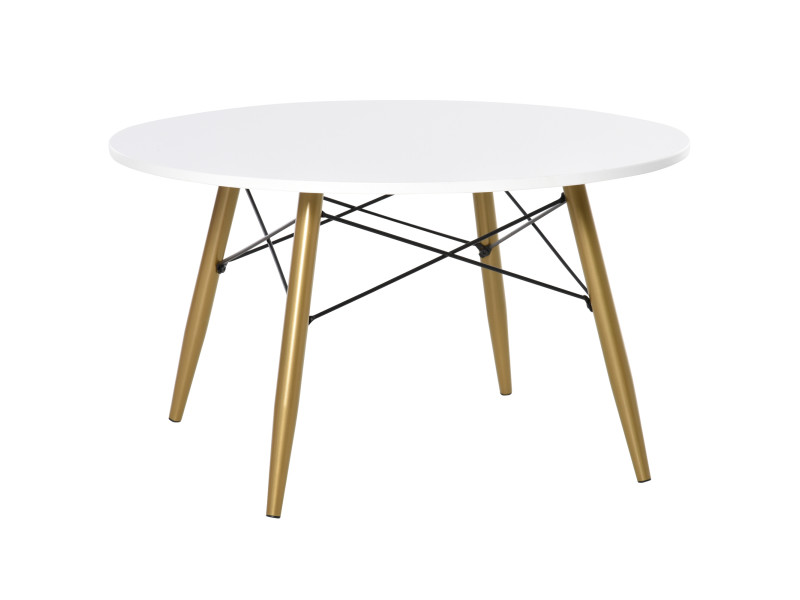 Table basse ronde design scandinave ø 80 x 45h cm métal imitation bois mdf blanc
