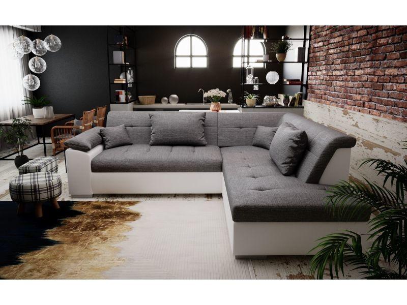 Canapé d'angle convertible lito design avec lit - tissu et simili cuir (gris et blanc angle droit)