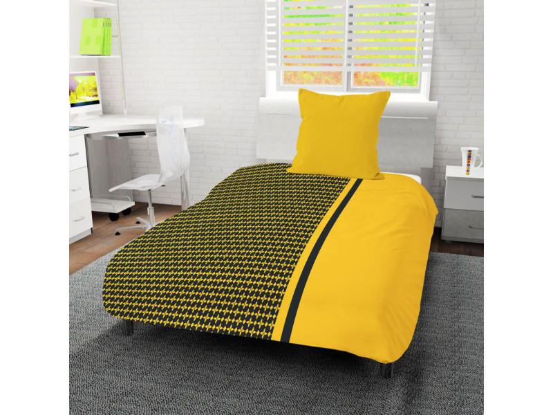 Couette 140x200 damier jaune