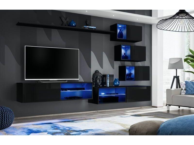 Ensemble meuble tv mural switch xxiv - l 260 x p 40 x h 170 cm - noir