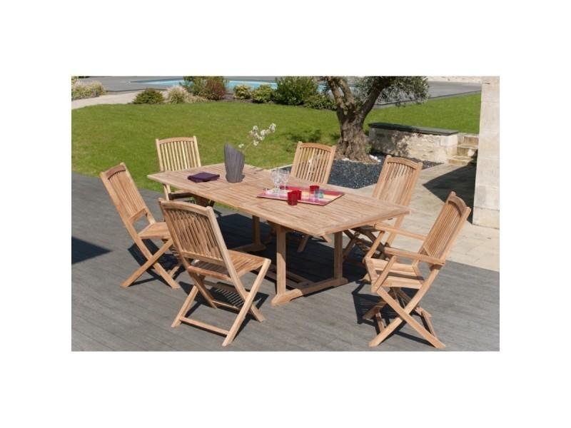 Salon de jardin teck avec 1 table rectangulaire extensible ...