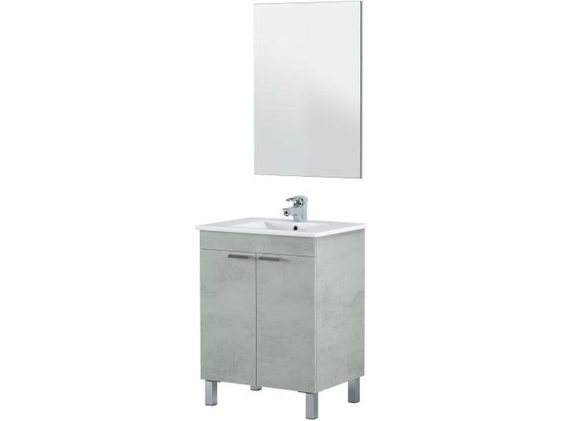 Meuble salle de bain sous-vasque 60 cm,2 portes + miroir coloris béton - hauteur 80 x longueur 60 x profondeur 45 cm